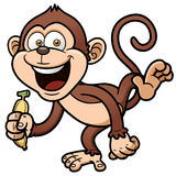 Cartoon monkey with banana Stock Images