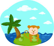 Cartoon monkey on the beach Stock Images