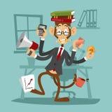 Cartoon monkey business man stress dancing Stock Photos