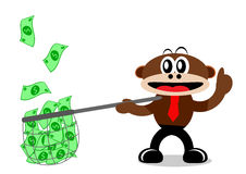 Cartoon Monkey in Business Themes Stock Image