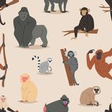 Cartoon monkey character animal wild vector illustration seamless pattern background