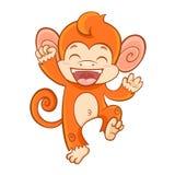 Cartoon monkey character isolated on white background. Cute cartoon smiling monkey character of 2016 chinese new year symbol isolated on white background Royalty Free Stock Photo