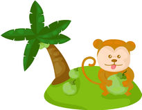 Cartoon monkey with coconut Stock Image