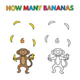 Cartoon Monkey Counting Bananas Coloring Book Stock Images