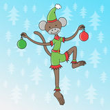 Cartoon Monkey elf in a funny costume Royalty Free Stock Images