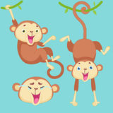 Cartoon monkey with emotions. Of happiness and smiles on a blue background Royalty Free Stock Photography