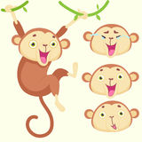 Cartoon monkey with emotions. Of happiness and smiles on a white background Royalty Free Stock Image