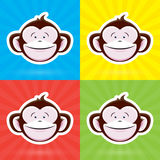 Cartoon Monkey Face with Happy Childlike Expression on Colorful Background Royalty Free Stock Image