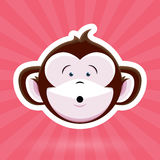Cartoon Monkey Face with Surprised Expression on Pink Background Stock Photo