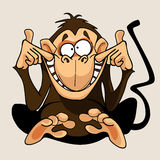 Cartoon monkey grimacing smiles Stock Photos