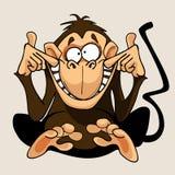 Cartoon monkey grimacing smiles Stock Photos