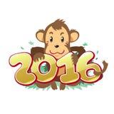 Cartoon monkey happy new year 2016. For design Stock Illustration