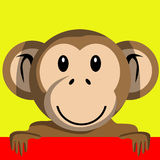 Cartoon monkey holding banner Stock Photo