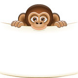 Cartoon monkey holding a blank sheet of paper. Cute cartoon monkey cub holding a blank sheet vector. All elements sorted and grouped in layers Royalty Free Stock Photography
