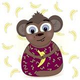 Cartoon monkey illustration. With banana Royalty Free Stock Photos