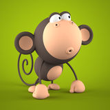 Cartoon monkey isolated on green background 3D rendering 2. Cartoon monkey isolated on green background 3D rendering royalty free illustration
