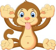 Cartoon monkey making a face and showing his tongue. Illustration of Cartoon monkey making a face and showing his tongue Stock Photography