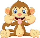 Cartoon monkey making a teasing face Stock Photography