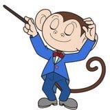 Cartoon Monkey Music Conductor Royalty Free Stock Photography