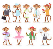 Cartoon monkey people character vector. Stock Images