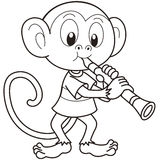 Cartoon Monkey Playing a Clarinet Stock Photography