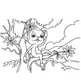 Cartoon monkey playing in the forest coloring page vector. Illustration Royalty Free Stock Photo
