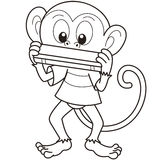 Cartoon Monkey Playing a Harmonica Stock Image