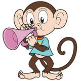 Cartoon Monkey Playing a Trumpet Stock Photo