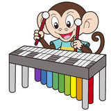 Cartoon Monkey Playing a Vibraphone Royalty Free Stock Photo