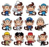 Monkey Occupations Set stock illustration