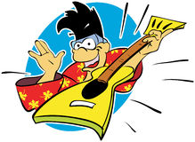 Cartoon monkey rocker with punk hairstyle playing rock. Royalty Free Stock Photos