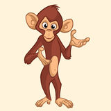 Cartoon monkey smiling. Vector illustration. stock image
