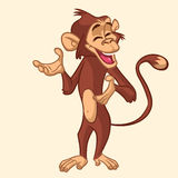 Cartoon monkey smiling. Vector illustration. stock photo