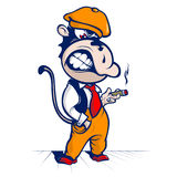 Cartoon monkey smoke Royalty Free Stock Images