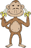Cartoon monkey with two bananas. Hand drawn illustration of a cartoon monkey with two bananas Stock Photography