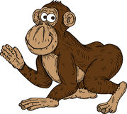 Cartoon monkey waving Royalty Free Stock Images