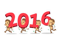Cartoon monkeys happy new year 2016 Royalty Free Stock Images