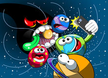 Cartoon monster black hole eating universe Earth selfie smartphone stock illustration
