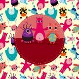 Cartoon monster card Royalty Free Stock Image