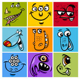 Cartoon monster character set. Cartoon Illustration of Monster Fictional Characters Faces Set Royalty Free Stock Photos