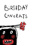 Cartoon Monster Congratulate Birthday Greeting Card Stock Photos