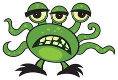 Cartoon Monster. Cute cartoon green monster on white royalty free illustration