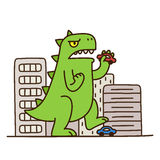 Cartoon monster destroying city Stock Photography