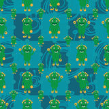 Cartoon monster dino symmetry bacteria seamless pattern. This illustration is drawing happy monster dino symmetry crazy big bacteria drawing on blue color Stock Photography