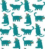 Cartoon Monster Dogs Seamless Pattern Stock Images