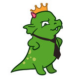 Cartoon monster dragon corporate boss in tie and crown Royalty Free Stock Photo