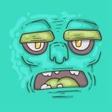 Cartoon monster face. Halloween illustration. Royalty Free Stock Photo
