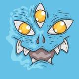 Cartoon monster face. Halloween illustration. Royalty Free Stock Image