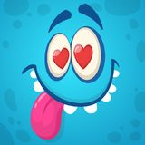 Cartoon monster face in love. Vector illustration. Design for St. Valentine`s Day stock photography