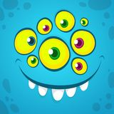 Cartoon monster face with many eyes. Vector Halloween blue monster avatar with wide smile Royalty Free Stock Image